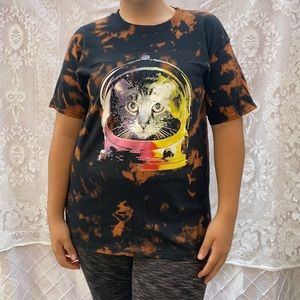 Upcycled Bleach Dye Astronaut Cat Shirt